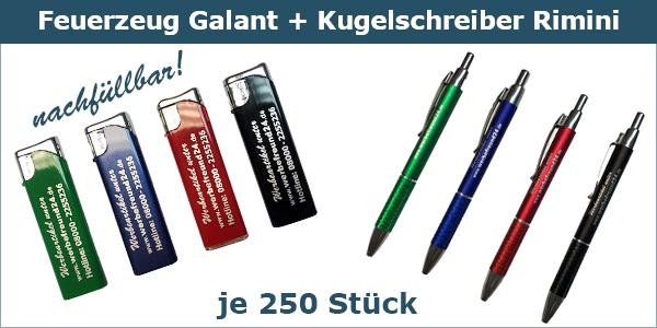 Werbe-Set 2 Feuerzeug Galant - Kugelschreiber Rimini